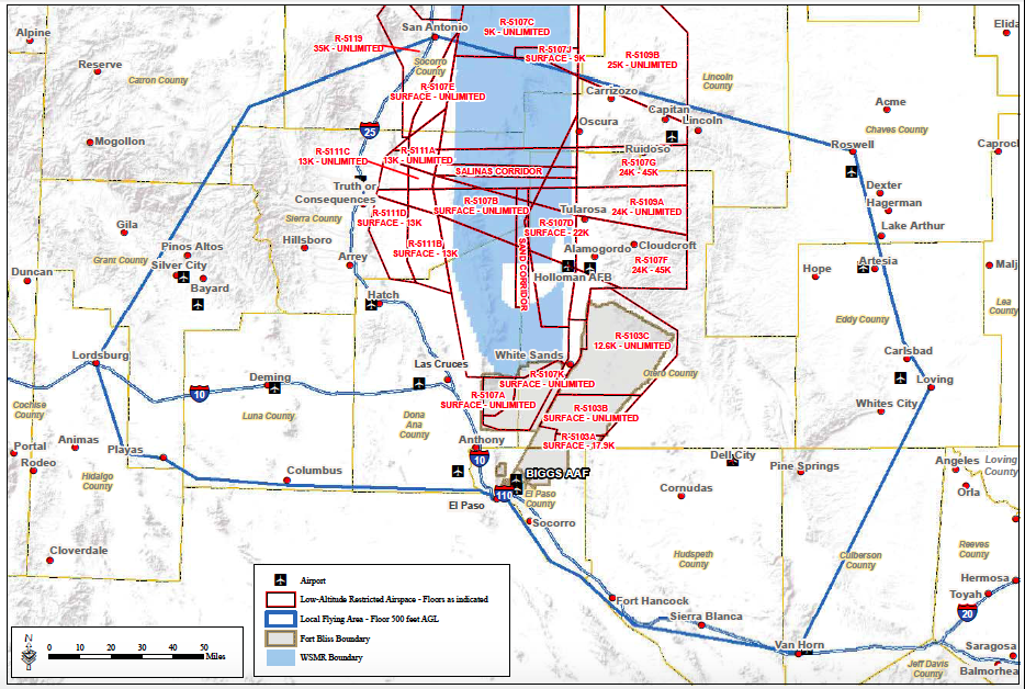 Ft Bliss Local Flying Area Map
